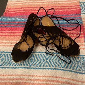 Black and Tan lace up wedges